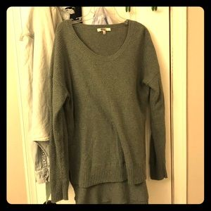Madewell Green High low cotton sweater